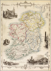 Tableau en plexi-alu  Carte de l'Irlande par Thomas Wright - Ken Welsh