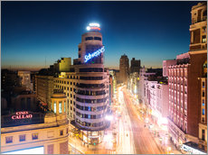 Sticker mural  Gran Via shopping street and city of Madrid at night - Matteo Colombo