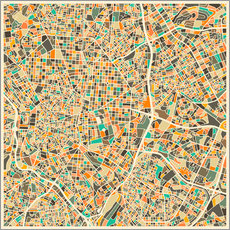 Sticker mural  Carte de Madrid - Jazzberry Blue