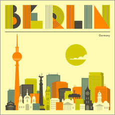 Tableau en plexi-alu  Skyline de Berlin - Jazzberry Blue