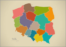 Sticker mural  Modern Map of Poland Artwork Design - Ingo Menhard