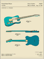 Sticker mural  Brevet de guitare Fender, 1951 (anglais) - Jazzberry Blue