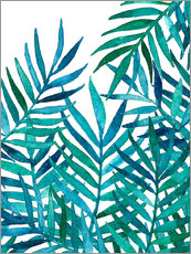Sticker mural  Watercolor Palm Leaves on White - Micklyn Le Feuvre