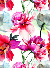 Tableau en plexi-alu  Poppies and peonies