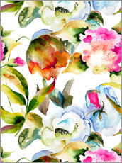 Tableau en plexi-alu  Wildflowers in Watercolor