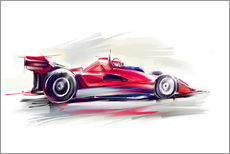 Sticker mural  Voiture de course rouge