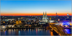Colorful Cologne skyline at night