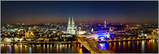 Sticker mural  A panoramic view of cologne at night