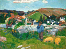 Sticker mural  Paysage breton avec porcherie - Paul Gauguin