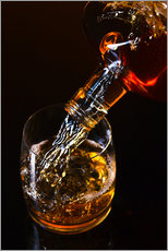 Tableau en plexi-alu  whiskey and ice on a glass table