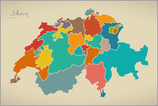 Sticker mural  Switzerland Modern Map Artwork Design - Ingo Menhard