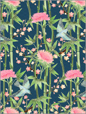 Tableau en plexi-alu  bamboo birds and blossoms on teal - Micklyn Le Feuvre