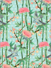 Sticker mural bamboo birds and blossoms on mint