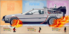 Tableau en plexi-alu  Back to the Future, DeLorean - HDMI2K