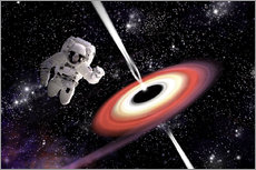 Sticker mural  Artist's concept of an astronaut falling towards a black hole in outer space. - Marc Ward