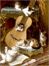 Sticker mural  Kittens at play with a guitar - Jules Le Roy