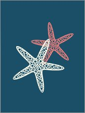 Tableau en plexi-alu  Nautical logo starfish sea nautical ocean art - Nory Glory Prints