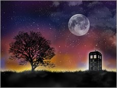 Sticker mural  Le TARDIS de Doctor Who la nuit - Golden Planet Prints