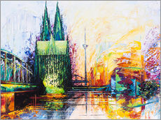 Sticker mural  Cologne Cathedral Skyline colored - Renate Berghaus