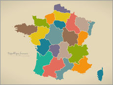 Sticker mural  France Modern Map Artwork Design - Ingo Menhard