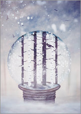 Sticker mural Snowglobe with birch trees and raven