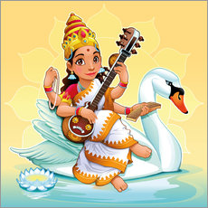 Sticker mural  Saraswati avec un cygne - Kidz Collection