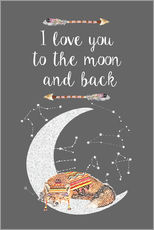 Sticker mural  I love you to the moon and back - GreenNest