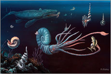 Richard Bizley - Cretaceous marine animals, artwork