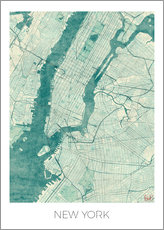 Tableau en plexi-alu  Carte de New York, bleu - Hubert Roguski