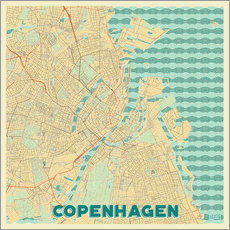 Tableau en plexi-alu  Copenhagen Map Retro - Hubert Roguski