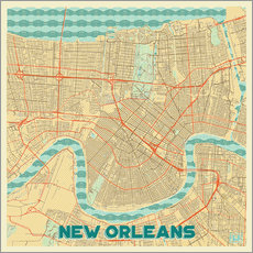 Sticker mural New Orleans Map Retro