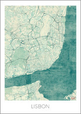 Tableau en plexi-alu  Lisbon Map Blue - Hubert Roguski