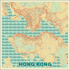 Tableau en plexi-alu  HongKong Map Retro - Hubert Roguski