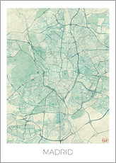 Tableau en plexi-alu  Carte de Madrid, bleue - Hubert Roguski