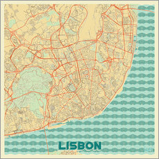 Sticker mural  Lisbon, Portugal Map Retro - Hubert Roguski