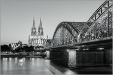 Tableau en plexi-alu  Cologne at night in black and white - Michael Valjak