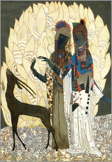 Tableau en plexi-alu  Two stylized women with an antelope and foliage - Jean Dunand