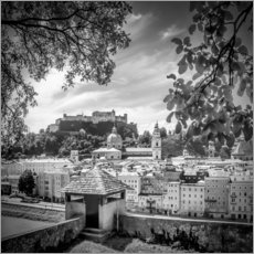 Sticker mural SALZBURG Gorgeous Old Town with Citywall | Monochrome