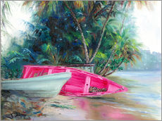 Tableau en plexi-alu  Barque rose - Jonathan Guy-Gladding