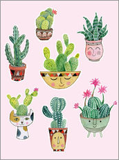 Sticker mural funny succulents