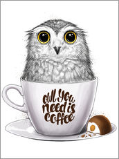 Tableau en plexi-alu  Owl you need is coffee - Nikita Korenkov