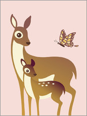 Sticker mural  Mom And Baby Deer With Butterfly - Ashley Verkamp