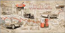 Tableau en plexi-alu  Route 66 Map - Georg Huber