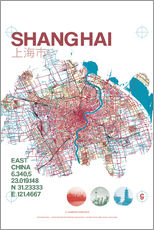 Sticker mural  Carte de Shanghai - campus graphics