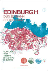 Sticker mural  Edinburgh city map - campus graphics