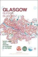Sticker mural  Glasgow city map - campus graphics