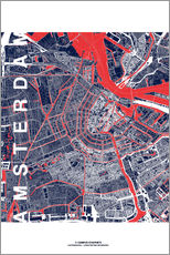 Sticker mural  City of Amsterdam Map midnight - campus graphics