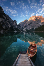 Tableau en plexi-alu  Early morning on Lake Braies / Lago di Braies - MUXPIX