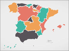 Sticker mural  Spain map modern abstract with round shapes - Ingo Menhard