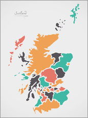 Sticker mural  Scotland map modern abstract with round shapes - Ingo Menhard